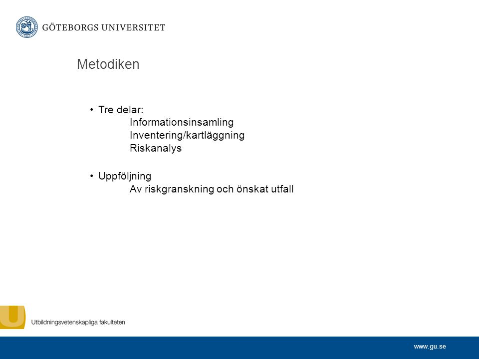 Metodiken Tre delar: Informationsinsamling Inventering/kartläggning Riskanalys.