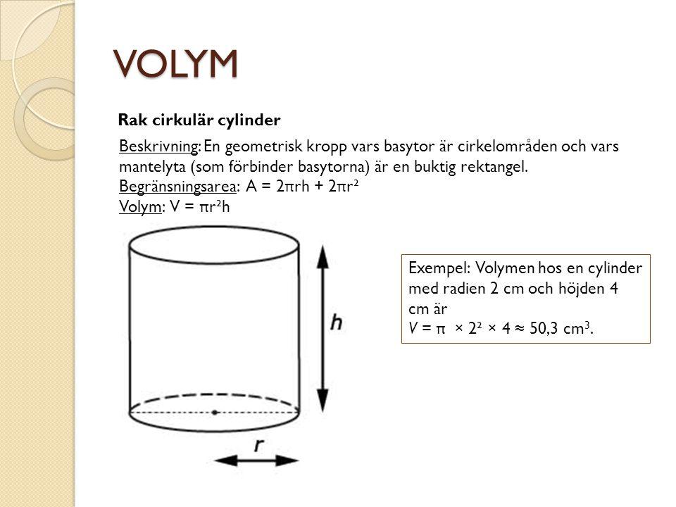 VOLYM Rak cirkulär cylinder