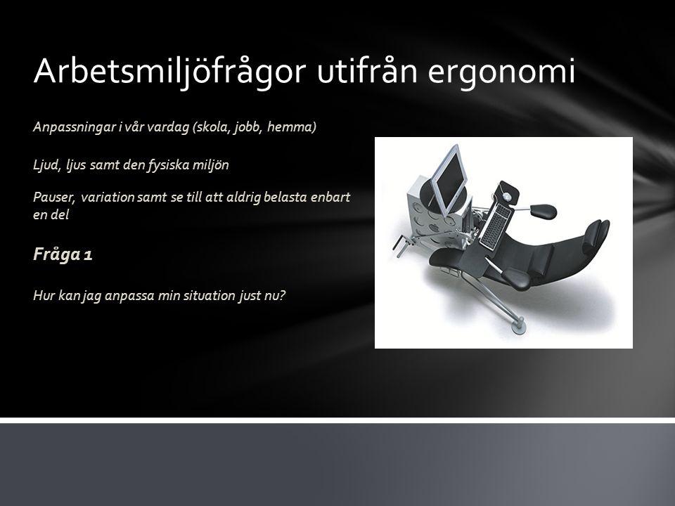Arbetsmiljöfrågor utifrån ergonomi