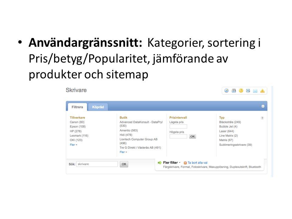 Användargränssnitt: Kategorier, sortering i Pris/betyg/Popularitet, jämförande av produkter och sitemap