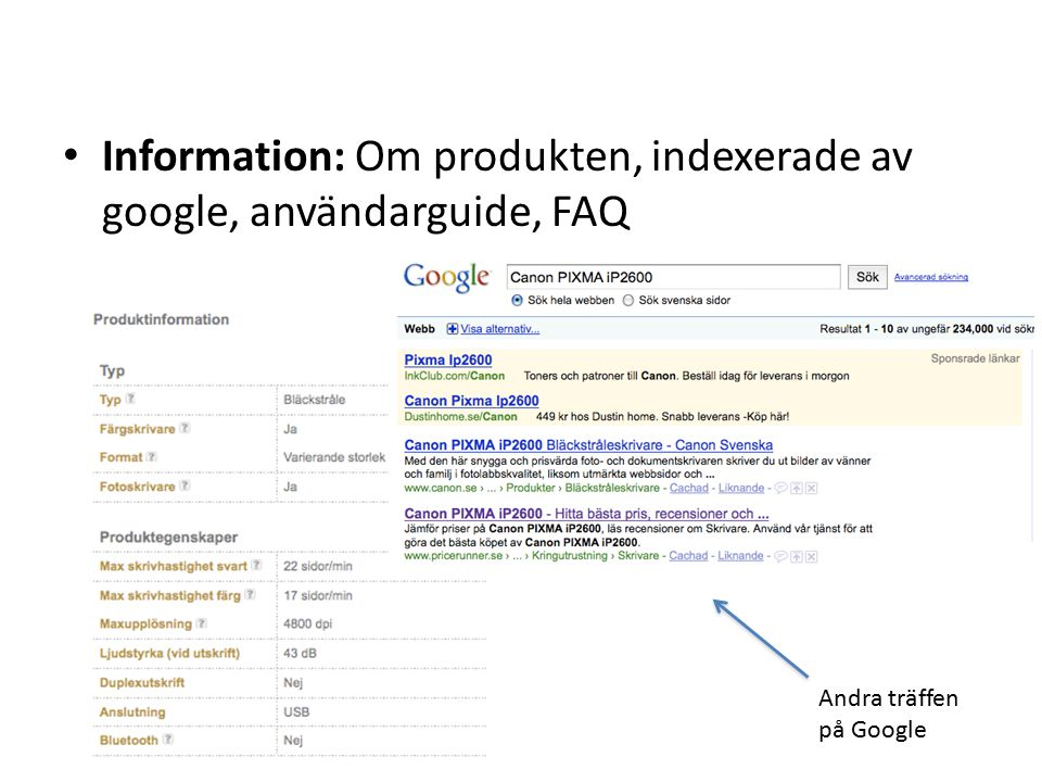 Information: Om produkten, indexerade av google, användarguide, FAQ