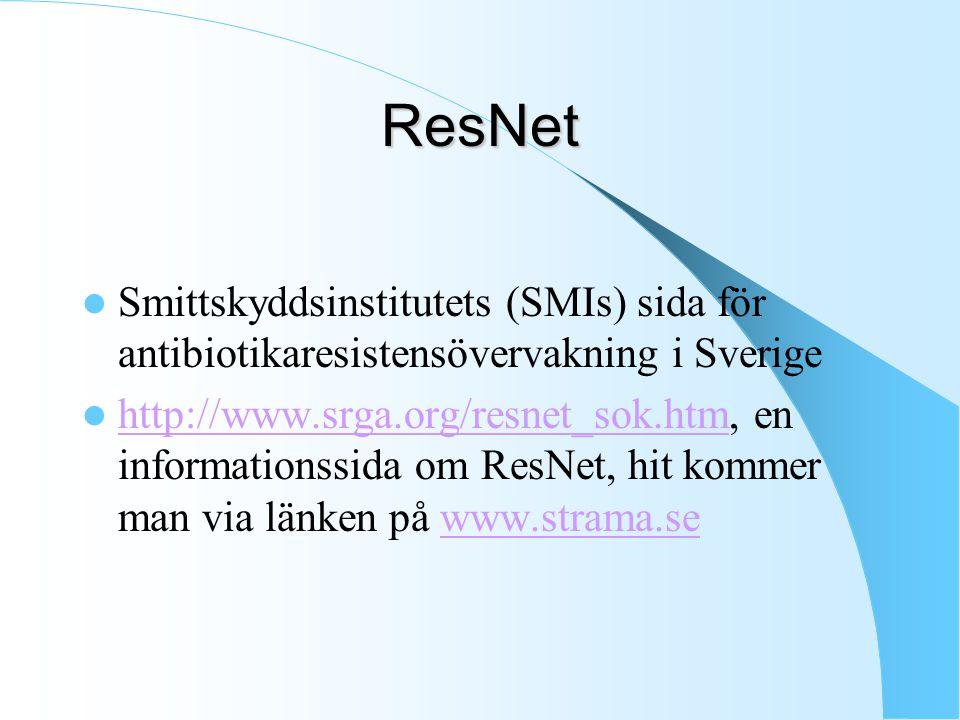ResNet Smittskyddsinstitutets (SMIs) sida för antibiotikaresistensövervakning i Sverige.