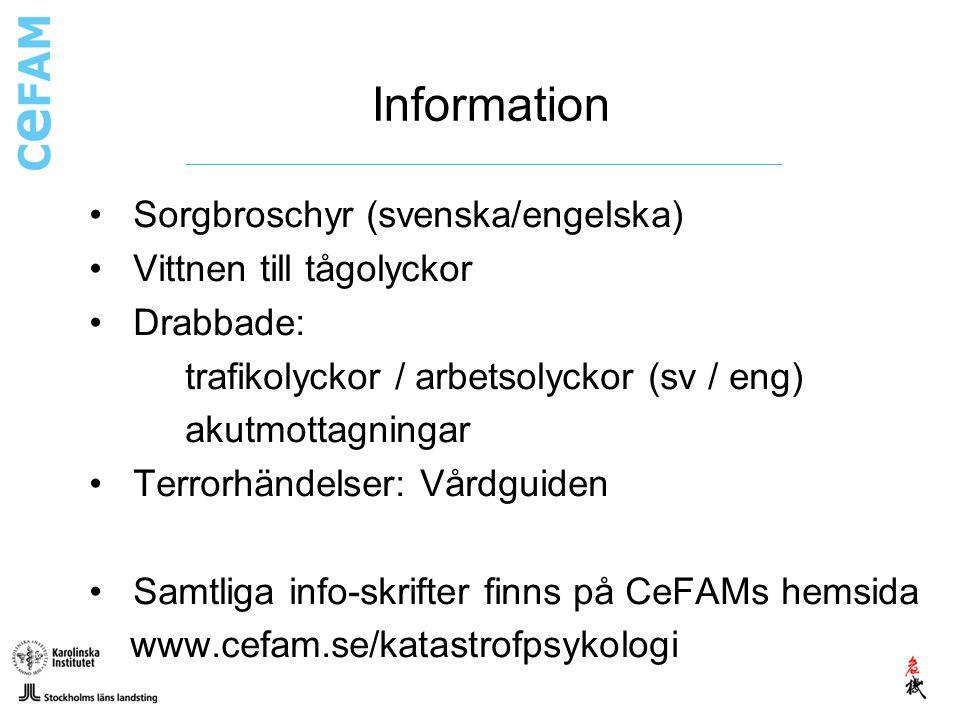 Information Sorgbroschyr (svenska/engelska) Vittnen till tågolyckor
