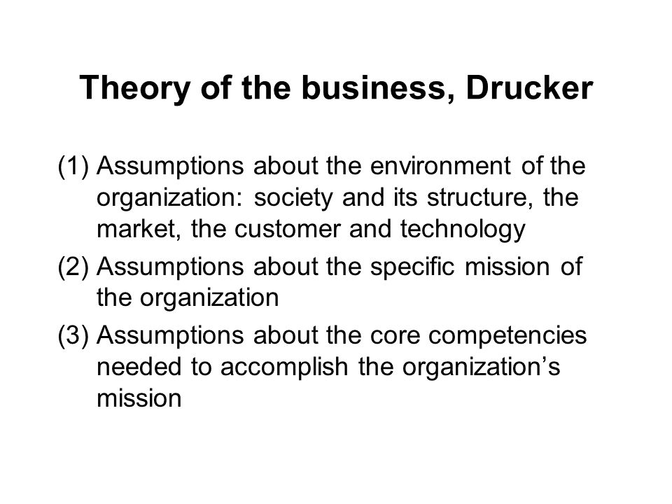 Theory of the business, Drucker