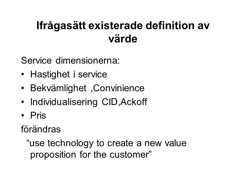 Ifrågasätt existerade definition av värde