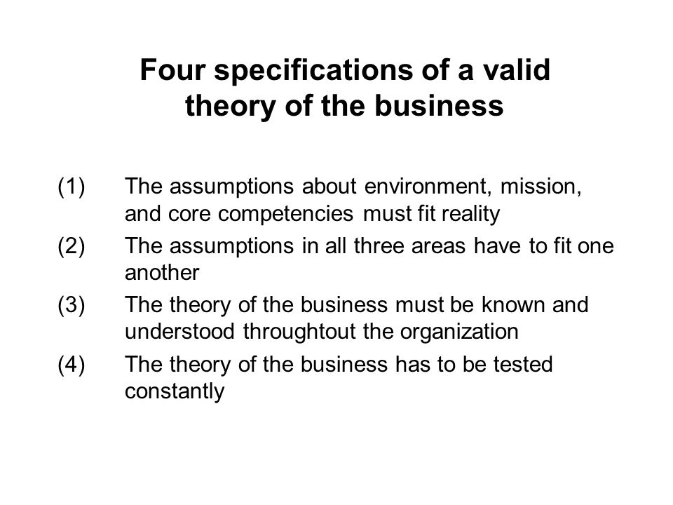 Four specifications of a valid theory of the business