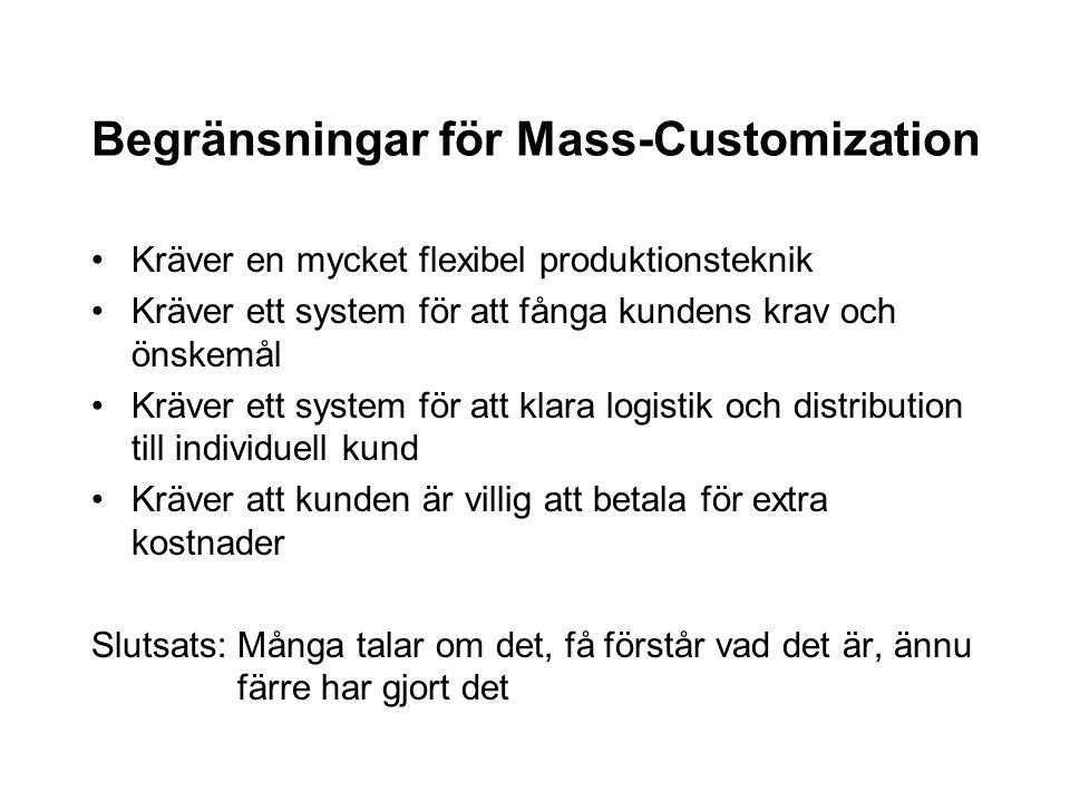 Begränsningar för Mass-Customization