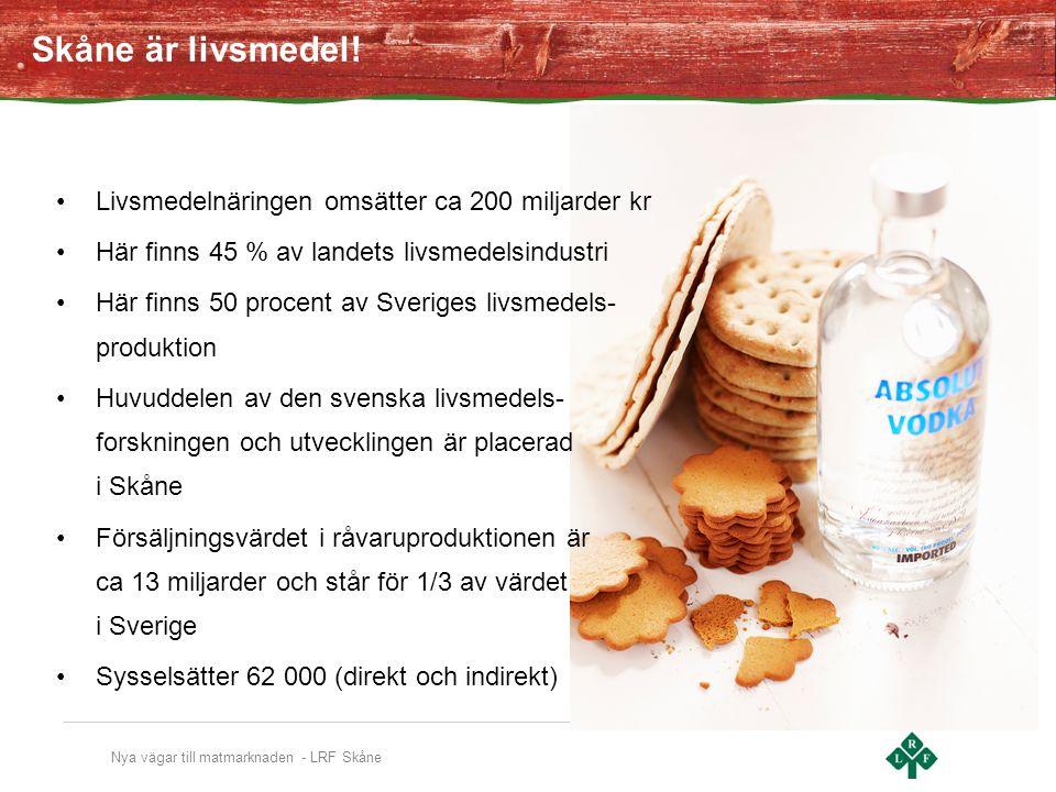 Skåne är livsmedel! Livsmedelnäringen omsätter ca 200 miljarder kr