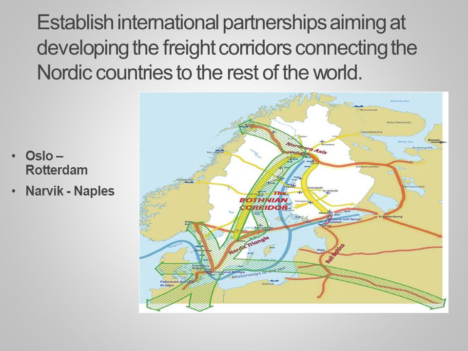 Establish international partnerships aiming at developing the freight corridors connecting the Nordic countries to the rest of the world.