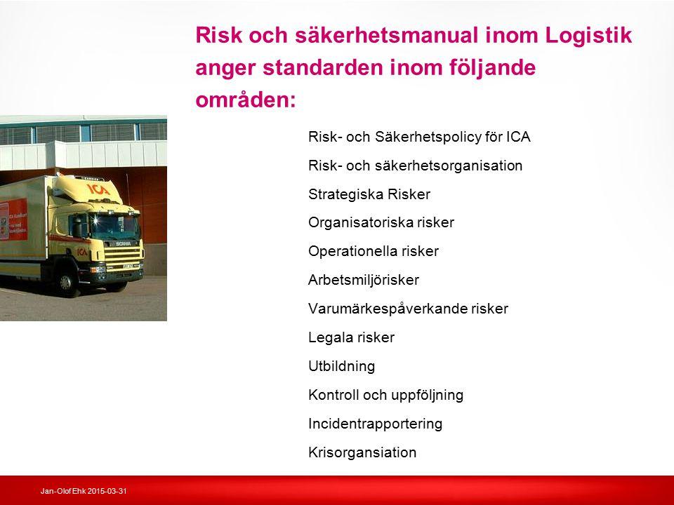 Risk och säkerhetsmanual inom Logistik anger standarden inom följande områden:
