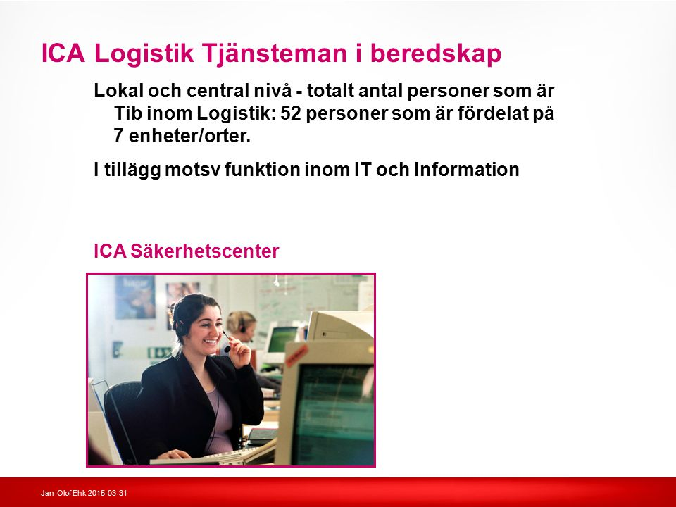 ICA Logistik Tjänsteman i beredskap