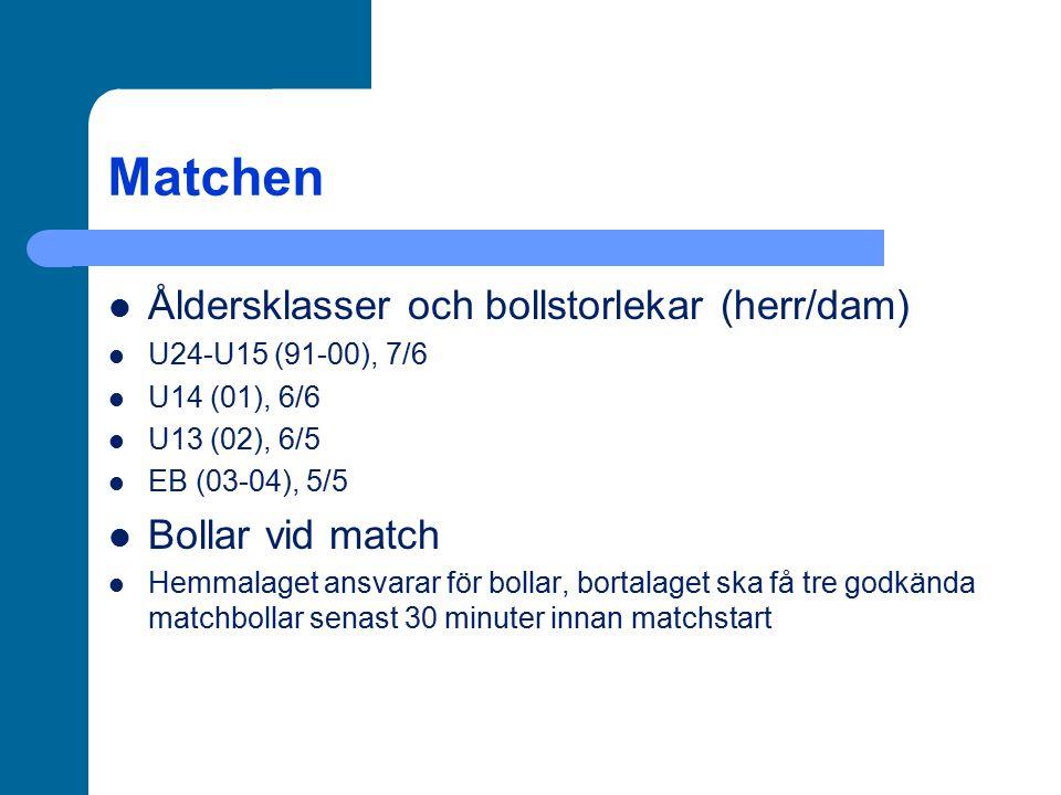 Matchen Åldersklasser och bollstorlekar (herr/dam) Bollar vid match