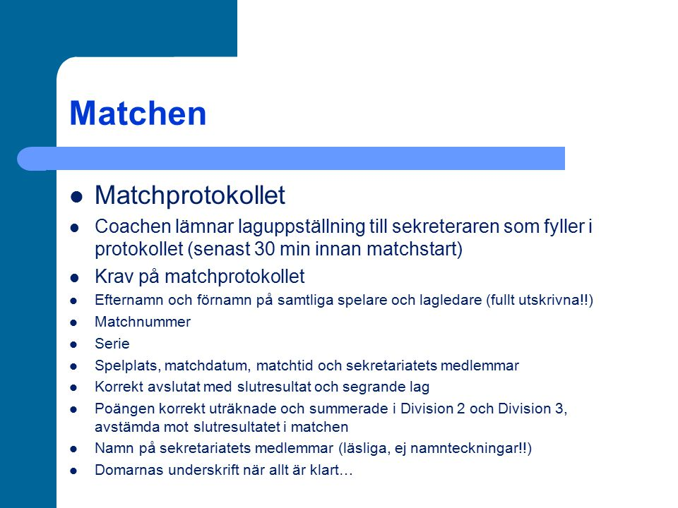 Matchen Matchprotokollet