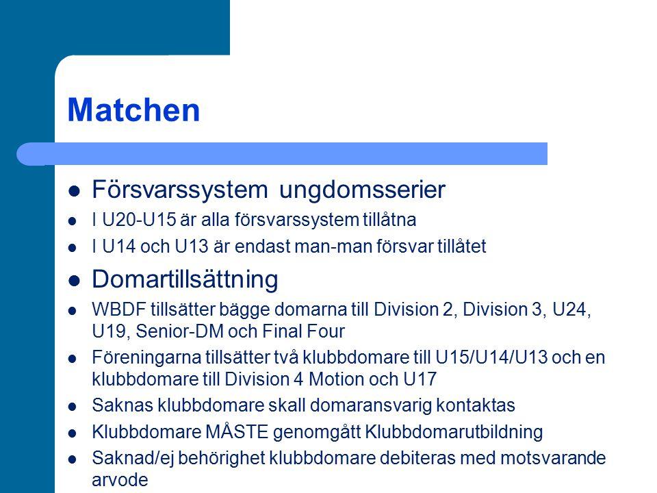 Matchen Försvarssystem ungdomsserier Domartillsättning