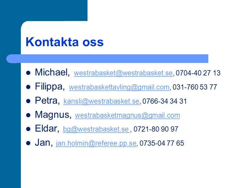 Kontakta oss Michael, westrabasket@westrabasket.se, 0704-40 27 13