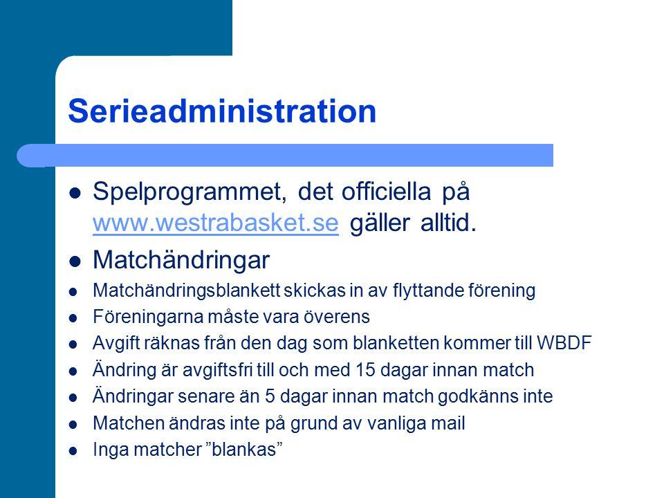 Serieadministration Spelprogrammet, det officiella på www.westrabasket.se gäller alltid. Matchändringar.