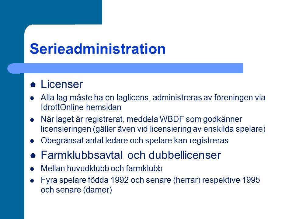 Serieadministration Licenser Farmklubbsavtal och dubbellicenser