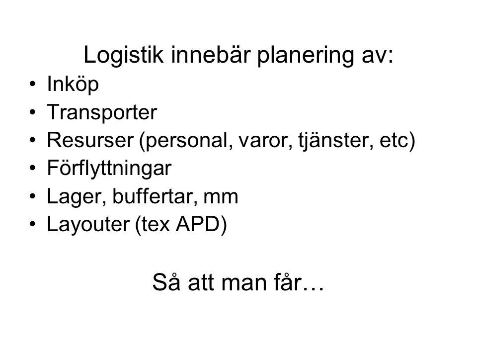 Logistik innebär planering av:
