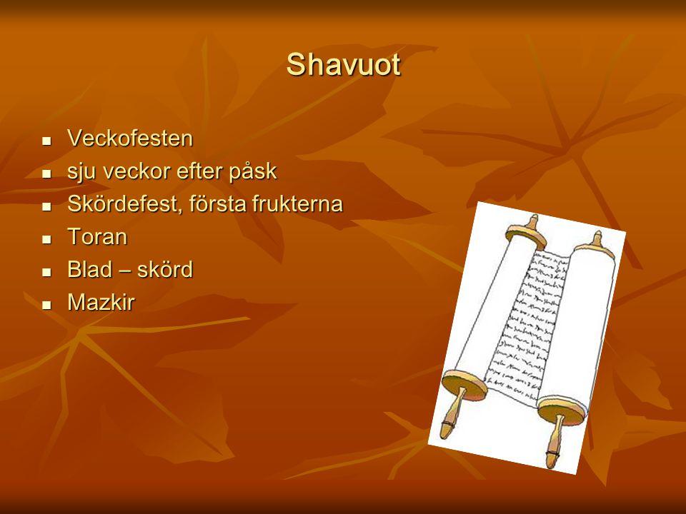 Shavuot Veckofesten sju veckor efter påsk Skördefest, första frukterna