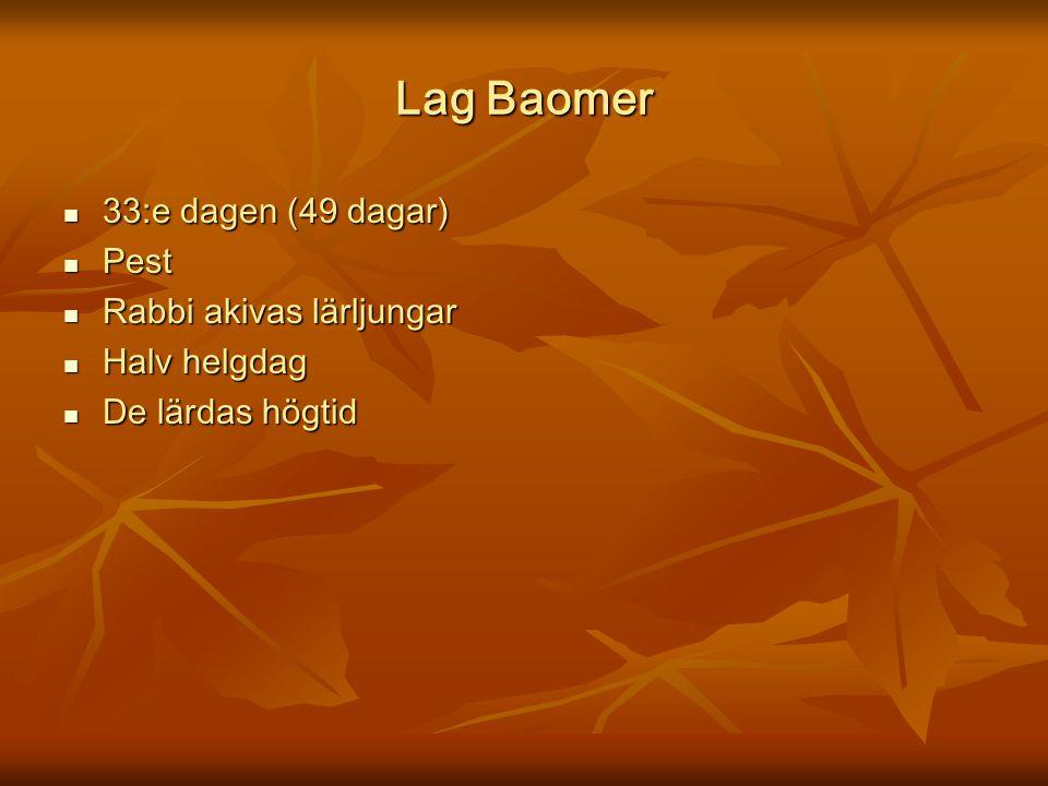 Lag Baomer 33:e dagen (49 dagar) Pest Rabbi akivas lärljungar