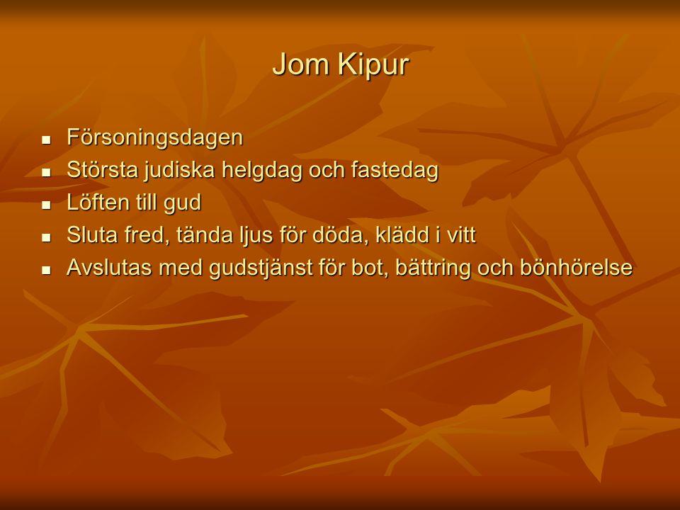 Jom Kipur Försoningsdagen Största judiska helgdag och fastedag