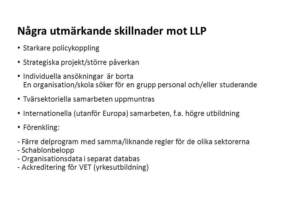 Några utmärkande skillnader mot LLP