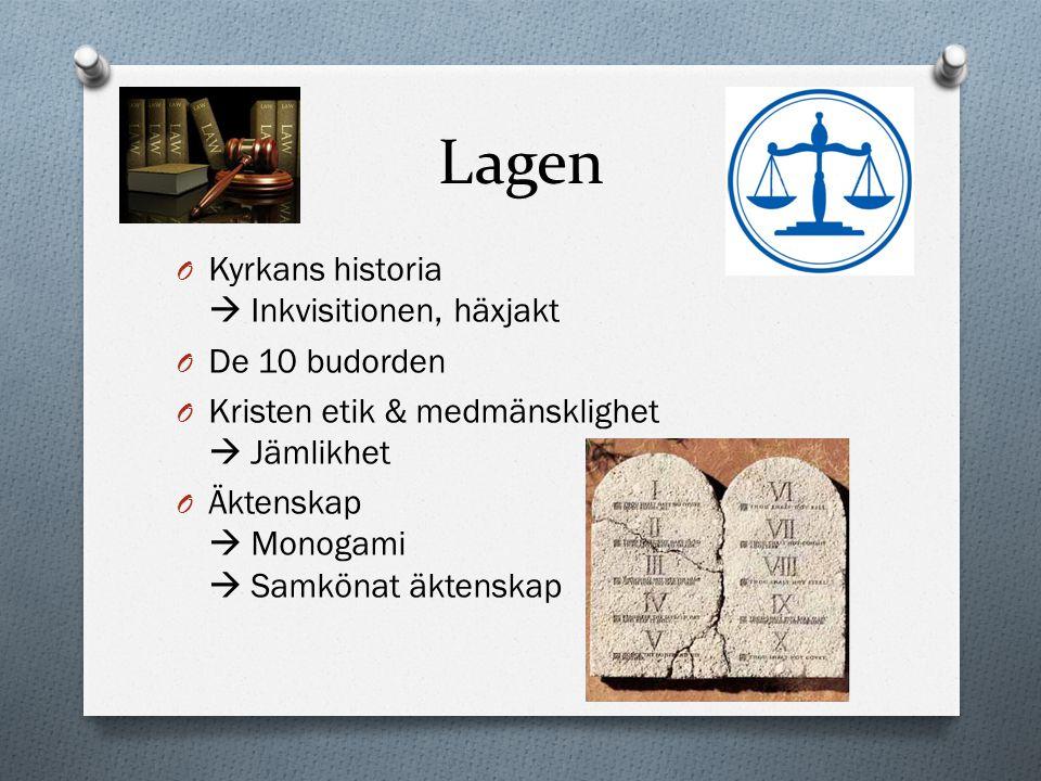 Lagen Kyrkans historia  Inkvisitionen, häxjakt De 10 budorden