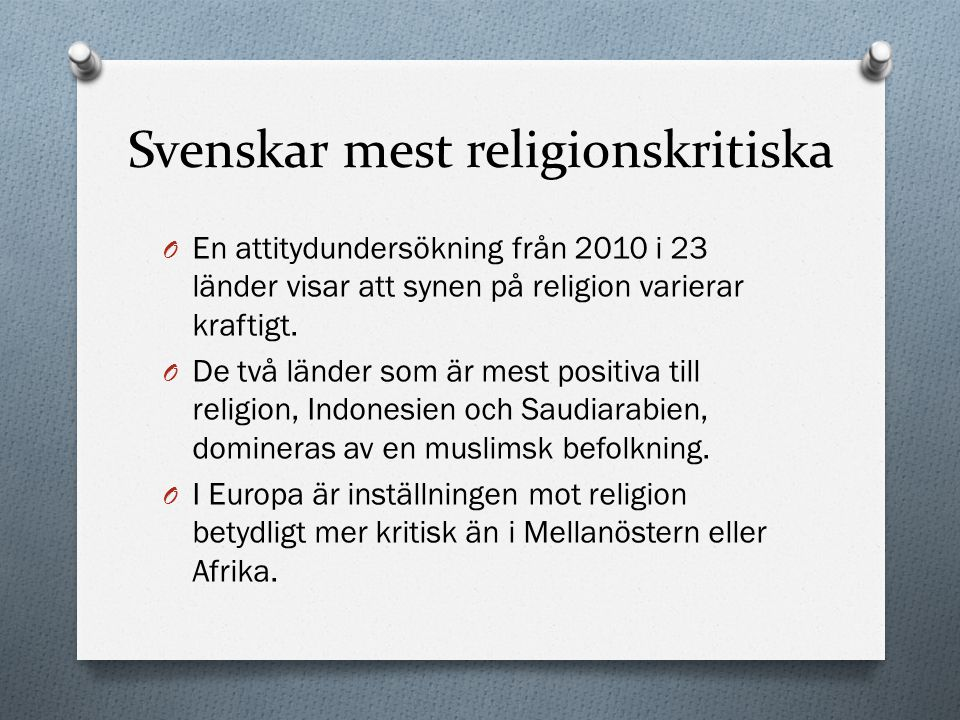 Svenskar mest religionskritiska