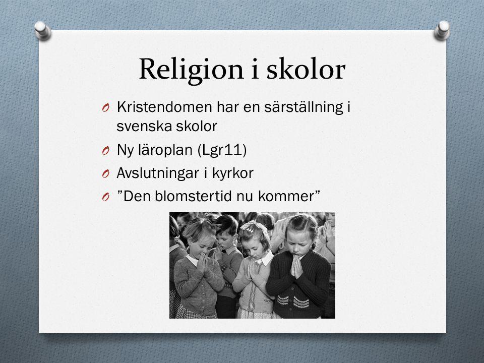 Religion i skolor Kristendomen har en särställning i svenska skolor