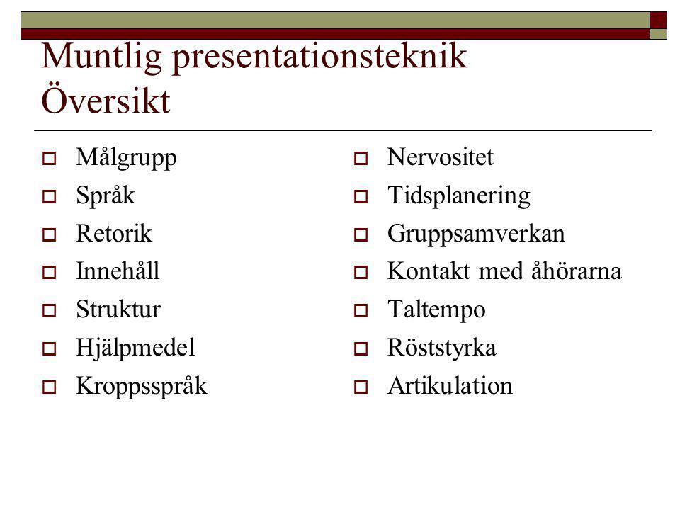 Muntlig presentationsteknik Översikt