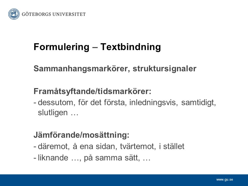 Formulering – Textbindning