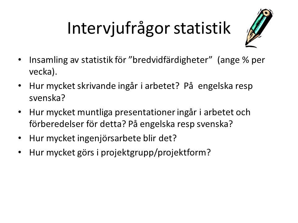 Intervjufrågor statistik