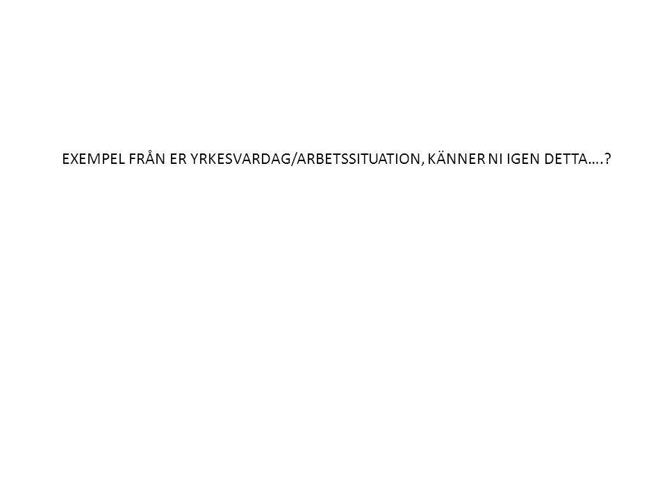 EXEMPEL FRÅN ER YRKESVARDAG/ARBETSSITUATION, KÄNNER NI IGEN DETTA….