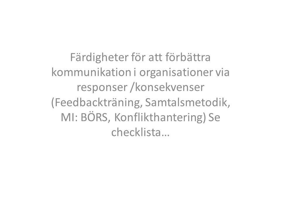 Färdigheter för att förbättra kommunikation i organisationer via responser /konsekvenser (Feedbackträning, Samtalsmetodik, MI: BÖRS, Konflikthantering) Se checklista…