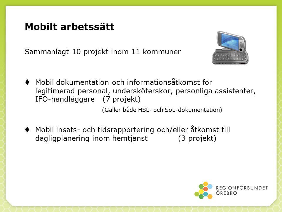 Mobilt arbetssätt Sammanlagt 10 projekt inom 11 kommuner