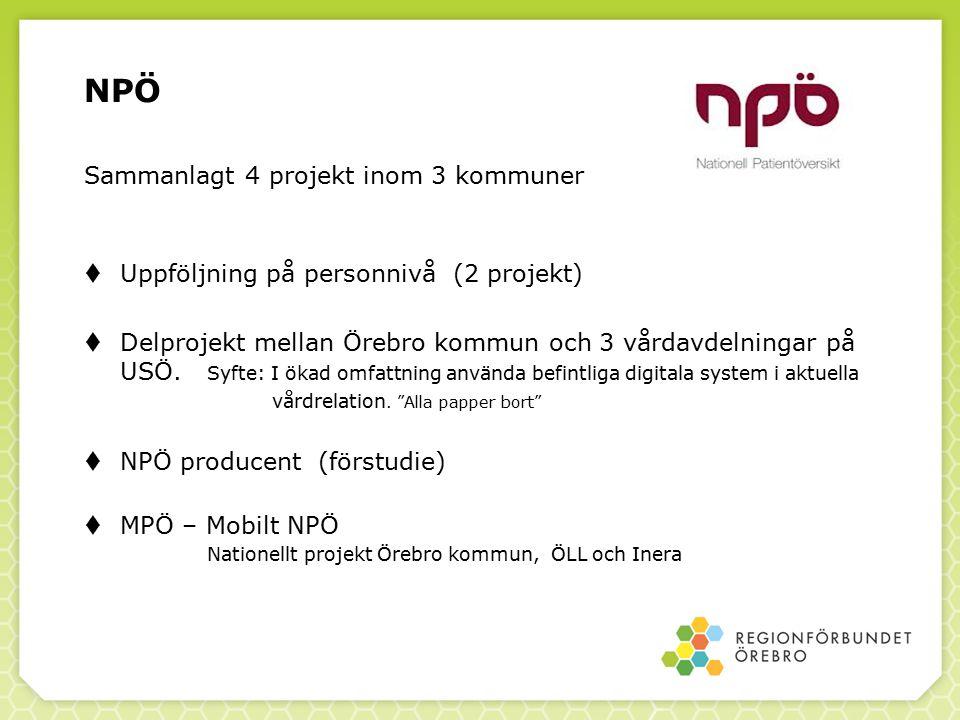 NPÖ Sammanlagt 4 projekt inom 3 kommuner