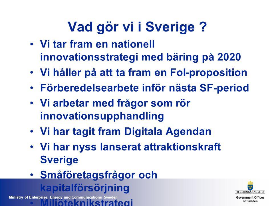 Vad gör vi i Sverige Vi tar fram en nationell innovationsstrategi med bäring på 2020. Vi håller på att ta fram en FoI-proposition.