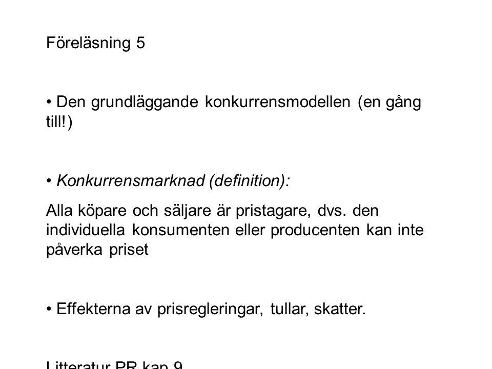 Föreläsning 5 • Den grundläggande konkurrensmodellen (en gång till!) • Konkurrensmarknad (definition):