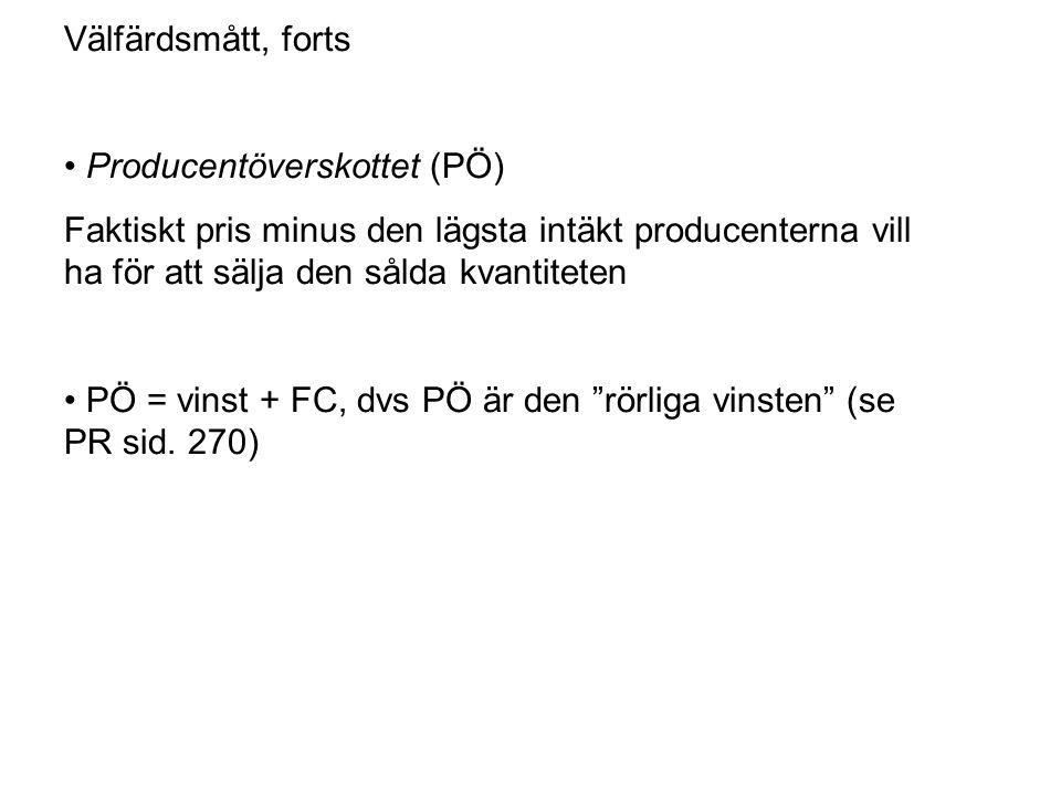 • Producentöverskottet (PÖ)