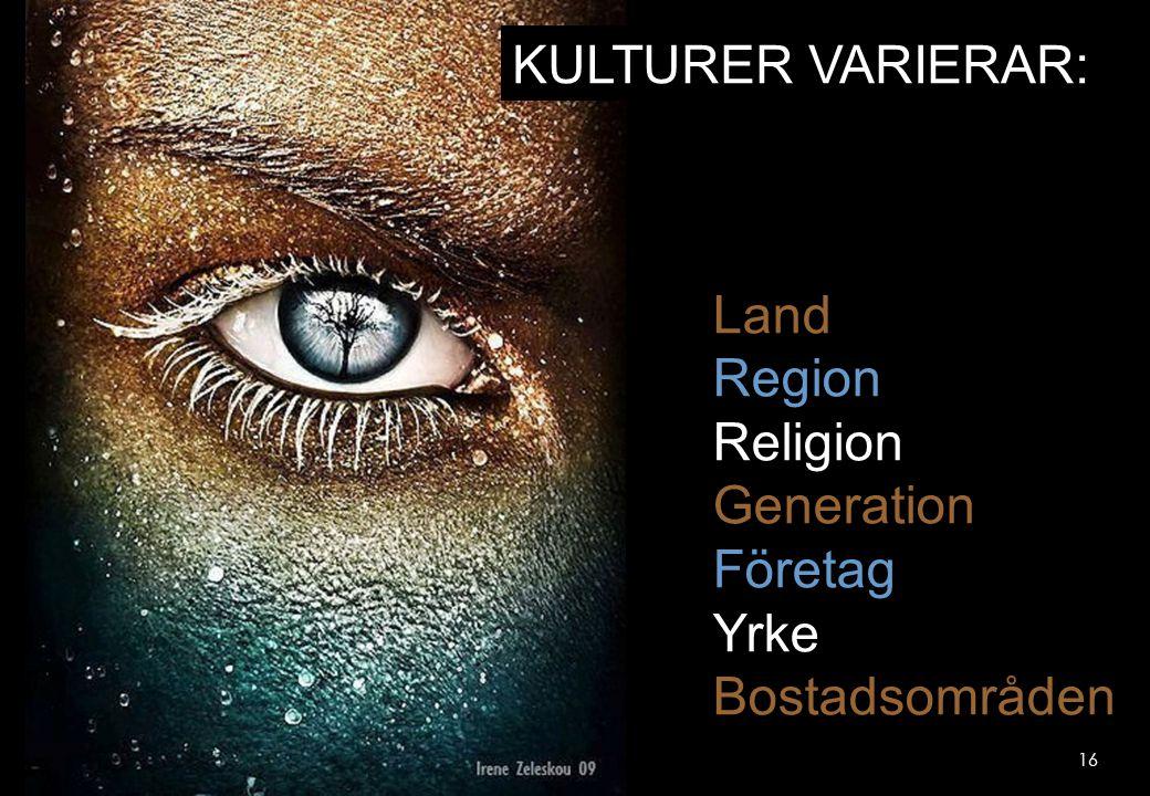 KULTURER VARIERAR: Land Region Religion Generation Företag Yrke