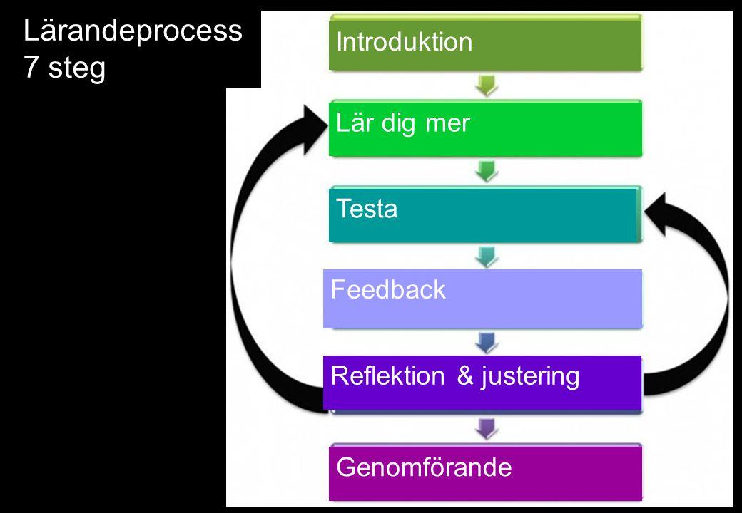 Lärandeprocess 7 steg Introduktion Lär dig mer Testa Feedback