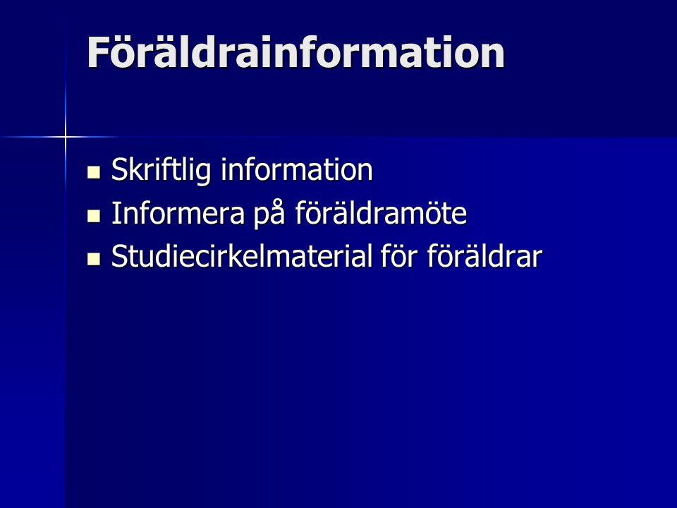 Föräldrainformation Skriftlig information Informera på föräldramöte