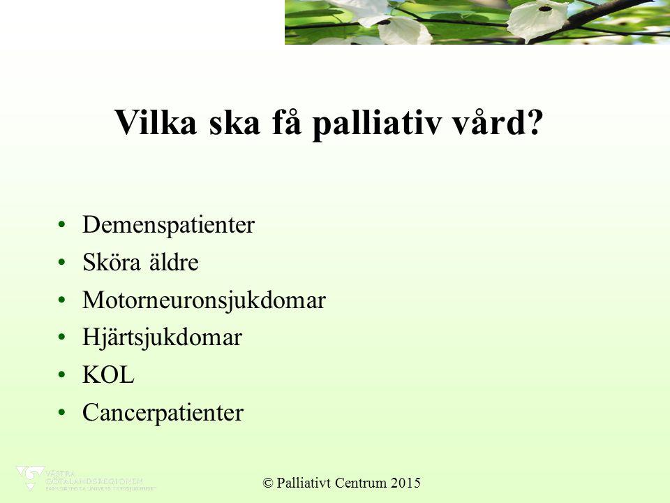 Vilka ska få palliativ vård