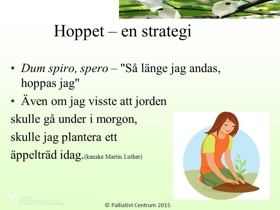 Hoppet – en strategi Dum spiro, spero – Så länge jag andas, hoppas jag Även om jag visste att jorden.