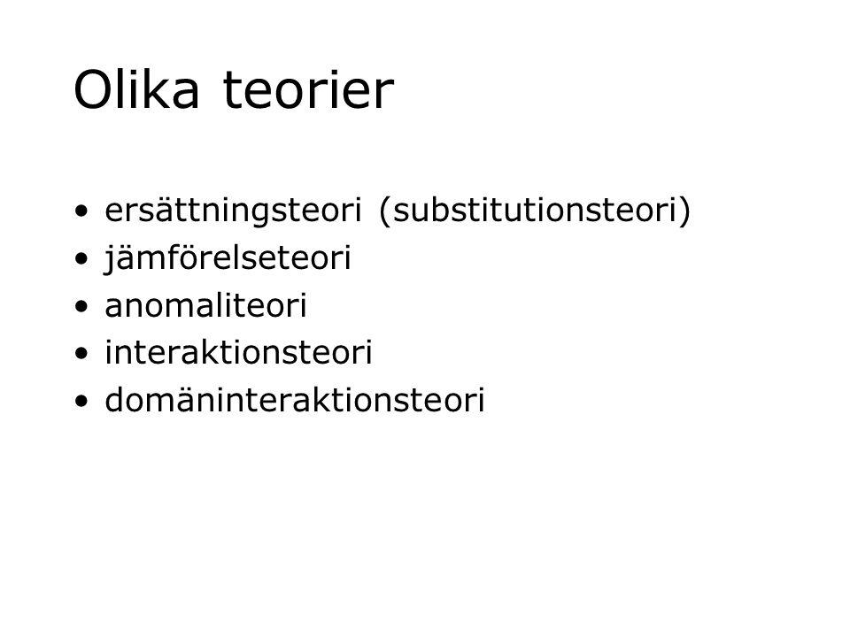 Olika teorier ersättningsteori (substitutionsteori) jämförelseteori