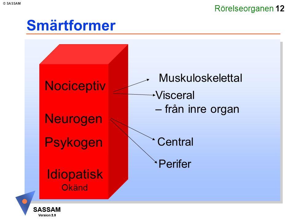 Smärtformer Nociceptiv Neurogen Psykogen Idiopatisk Muskuloskelettal