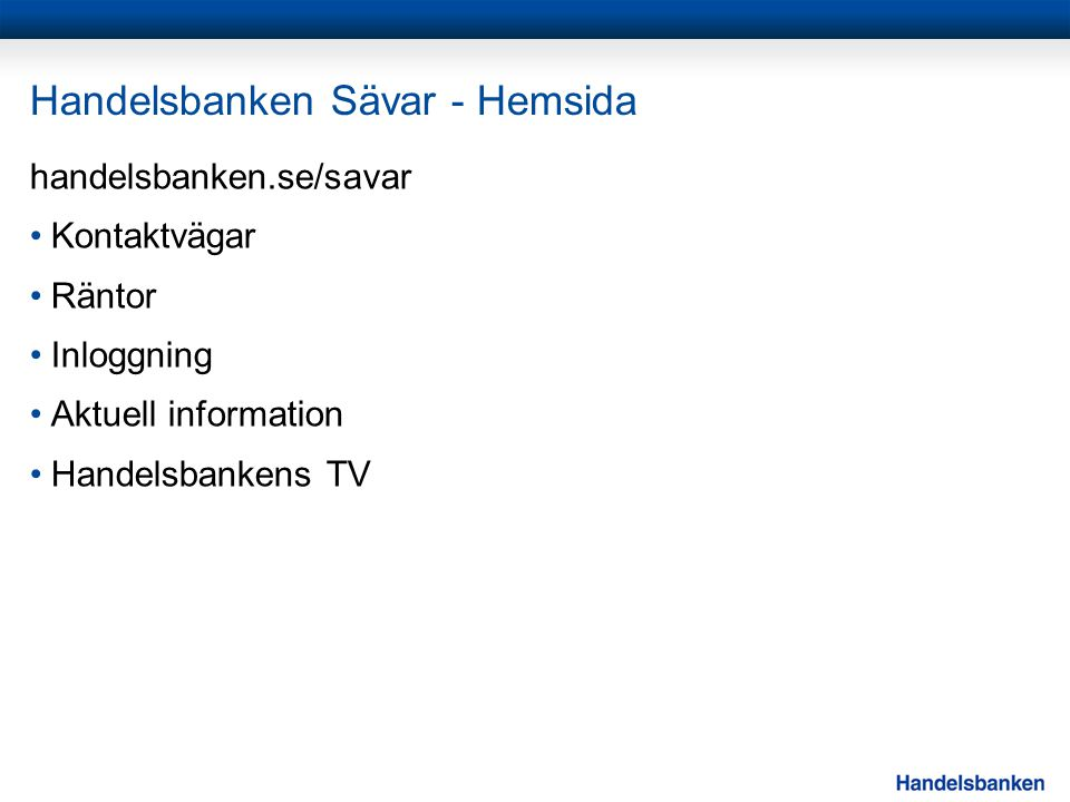 Handelsbanken Sävar - Hemsida