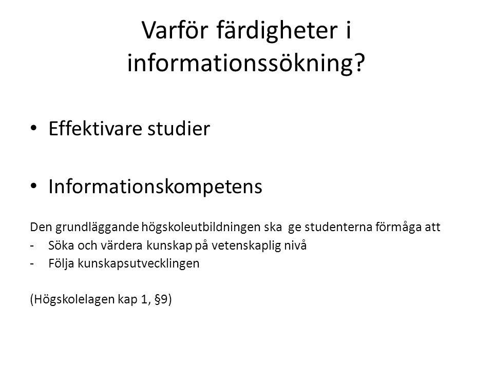 Varför färdigheter i informationssökning