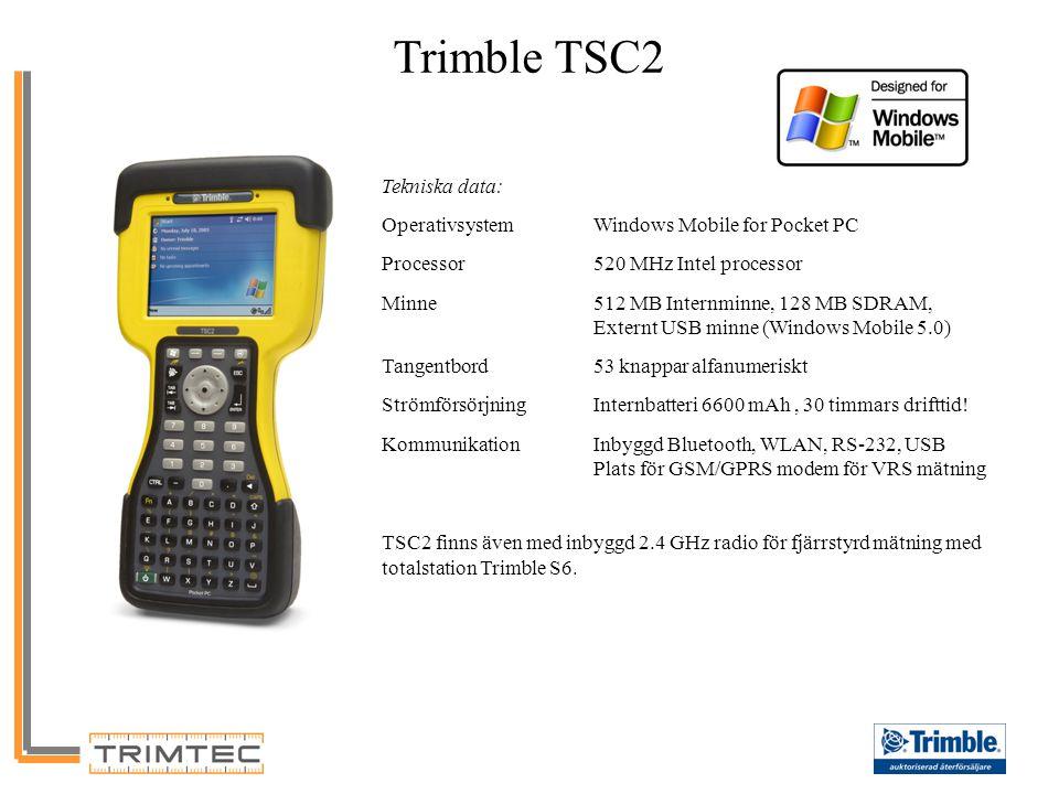 Trimble TSC2 Tekniska data: