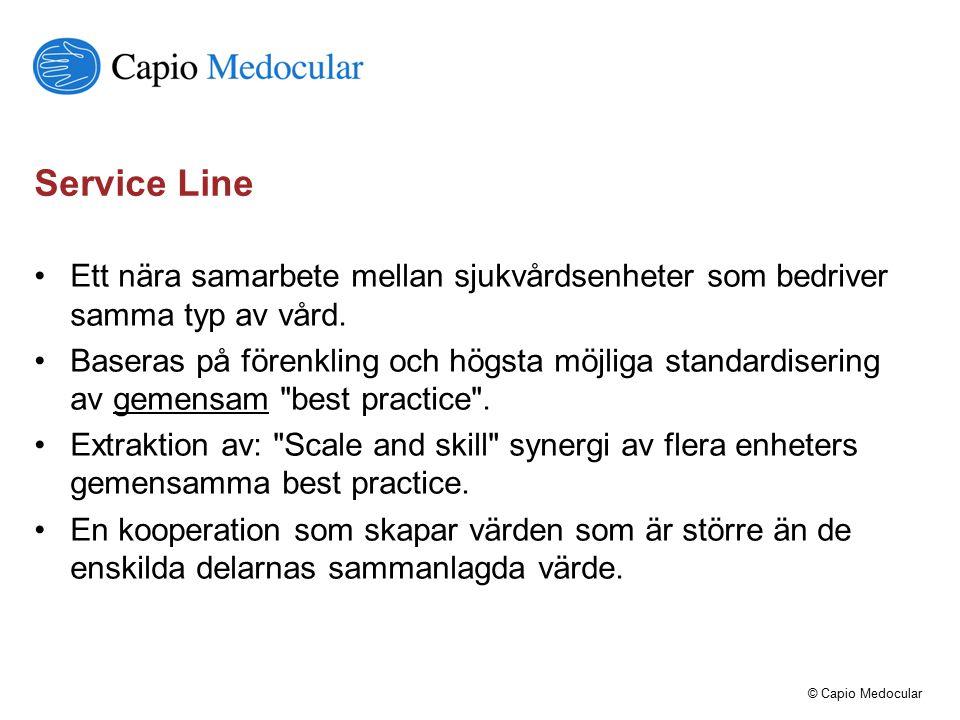 Service Line Ett nära samarbete mellan sjukvårdsenheter som bedriver samma typ av vård.